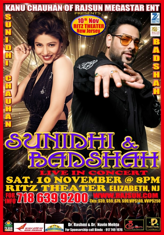 "Live in Concert ""SUNIDHI CHAUHAN & BADSHAH"" Live in NJ"